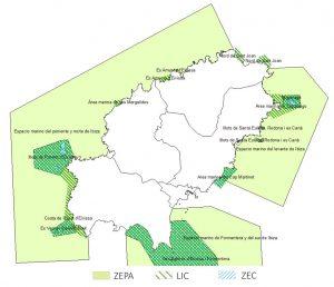 Figura 1. Espacios Naturales de ámbito marino de la Red Natura 2000 en la isla de Ibiza. Elaboración propia (Fuente: Govern de les Illes Balears)