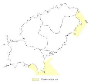 Figura 2. Reserva Marina de Es Freus d'Eivissa i Formentera (Sur) y Reserva Marina de Tagomago. Elaboración propia (Fuente: Govern de les Illes Balears).