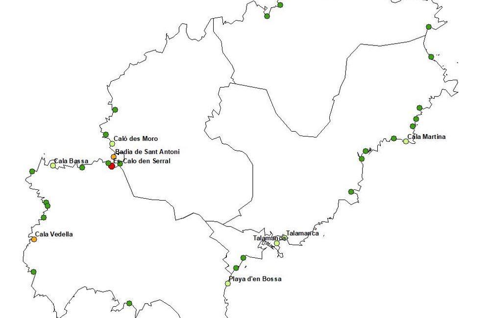 Figura 14. Estado de la calidad de las aguas en 2018. Etiquetadas las playas cuya calidad ha disminuido desde el 2010. Elaboración propia (Fuente: Govern de les Illes Balears).