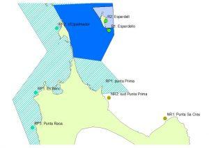 Figura 9. Localización de las zonas estudiadas. Aguas someras. R1, R2: Reserva integral; RP1, RP2 y RP3: Reserva parcial y NR1 y NR2: No Reserva. Elaboración propia. (Fuente: Govern de les Illes Balears)