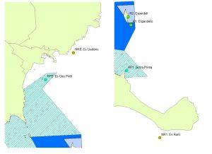 Figura 10. Localización de las zonas estudiadas. Aguas Profundas. R1, R2: Reserva integral; RP1 y RP2: Reserva parcial y NR1 y NR2: No Reserva. Elaboración propia. (Fuente: Govern de les Illes Balears).
