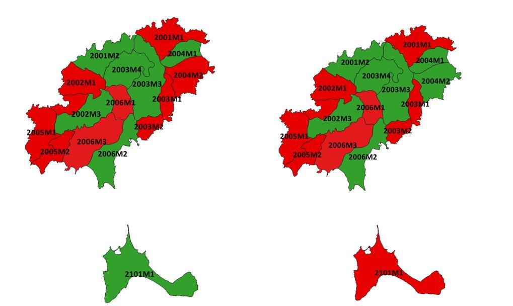 Figura 25. Estados de las masas de agua subterránea en las Pitiusas (2012 y 2015). Elaboración propia (Fuente: Govern de les Illes Balears).