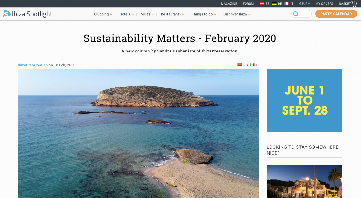 """""""Sustainability Matters"""" – a new column by IbizaPreservation for Ibiza Spotlight"""