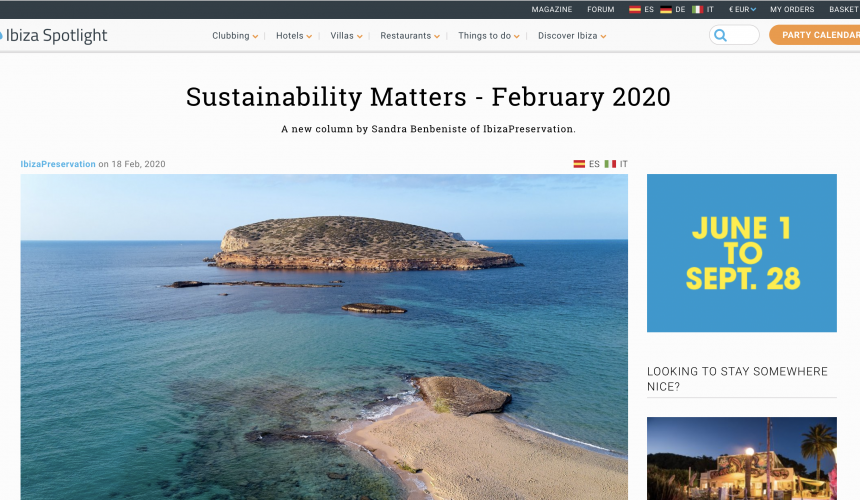 """Sustainability Matters"" – a new column by IbizaPreservation for Ibiza Spotlight"